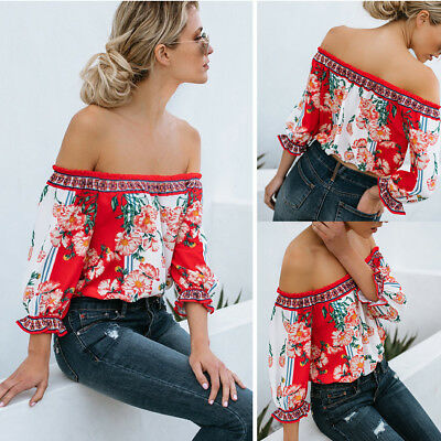 Women Off Shoulder Top Long Sleeve Pullover Casual Blouse Summer Loose Shirt AY