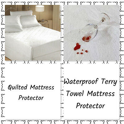 New Quilted Mattress Protect & Durable Waterproof Terry Towel Mattress Protector