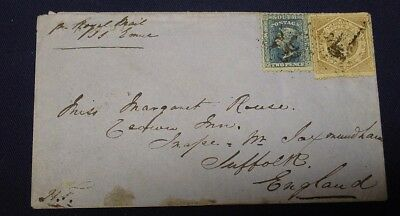 1860 NSW cover to England, bearing 2d and 6d perfed stamps, 2 backstamps.