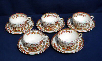Copeland Spode China Indian Tree Orange Rust 5 Cup and + Saucer Sets