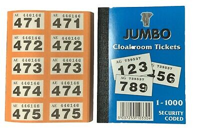 Cloakroom Tickets Raffle Tombola Bingo Draw Numbered Book 1 - 1000