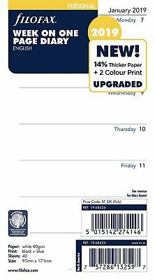 Filofax 2019 Personal size Diary Week on One Page Insert Refill 19-68426
