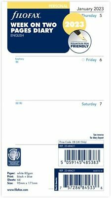 Filofax 2020 Personal Size Week on Two Pages Diary Refill 20-68421