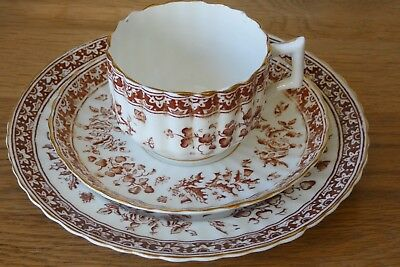 Antique Victorian / Edwardian Fluted Trio Cup Saucer Plate