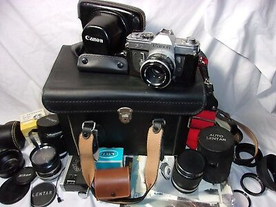 Large Lot Canon FT 35mm Camera w/ case booklets extra lenses & accessories    T*