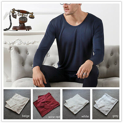 Men 100% Pure Silk T-shirt Top Long Johns Knitted Casual Crew Neck Shirts Soft