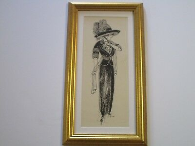 Antique Ink Drawing Gibson Smith Leyendecker Era  Stylish Art Deco Illustration