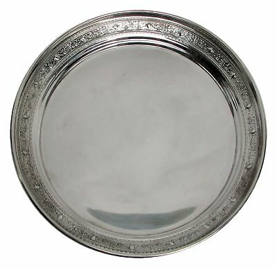 "Perfect Size Sterling Silver Round 10.5"" Platter Tray"