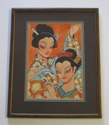 Smith Antique Painting Art Deco   Portrait Female Models Asian Theme Modernist