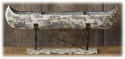"""Distressed Galvanized Metal Canoe on Stand Home Cabin Lodge Decor 20"""" L NEW"""