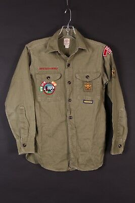 Vtg 60S Boy Scouts Bsa Cotton Uniform Camp Shirt With Patches Mens Small