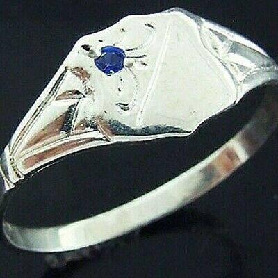 Ring 925 Solid Sterling Silver Sapphire Antique Engraved Signet Design Size L  6