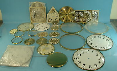 Lot of Vintage Clock Parts Grandfather & Grandmother Dial Faces W/ Glass Cover