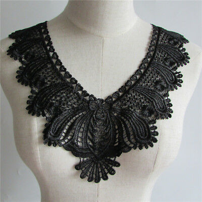 Black Collar Neckline Applique Floral Venise Lace clothing accessory collar
