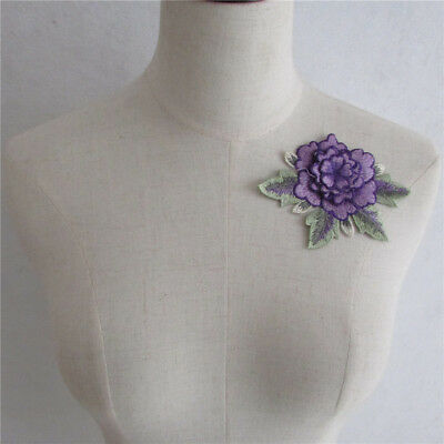 purple Embroidered Collar Neckline Lace Neck Trim Applique Sewing Craft YL316