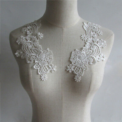 new White Floral Lace Appliques Embroidery Venice Trim Collar FlowerYL240