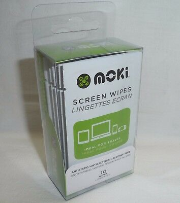 10 x SCREEN CLEANER WIPES cloths Moki Clean TV/Monitor/Laptop small pack NEW