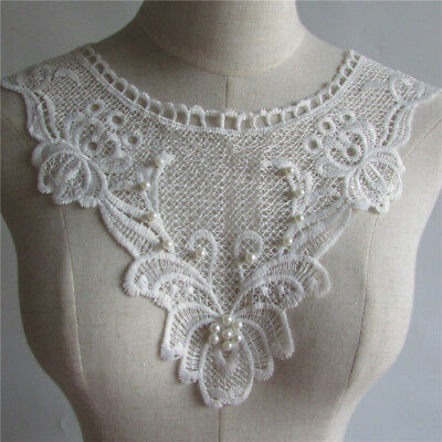 New White Embroidered Lace Collar Venise Trim Neckline Applique Sewing DIY Craft