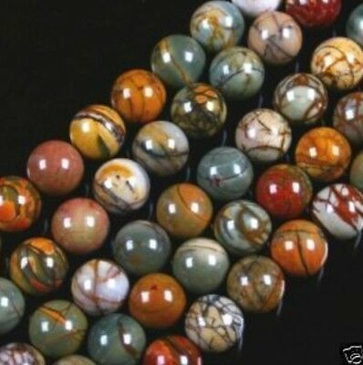Natural 14Mm Multicolor Picasso Jasper Gemstone Round Ball Loose Bead Strand 15""