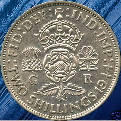 1944 Great Britain 2 Shilling Coin (11.31 Grams .500 Silver)