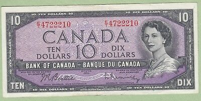 1954 Bank of Canada 10 Dollar Note - Beattie/Rasminsky - E/T4722210 - EF