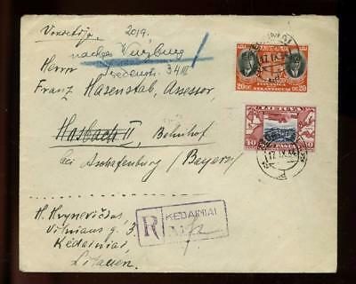 LIthuania:  1934 R-cover to Germany, Darius - Girenas commem. stamps