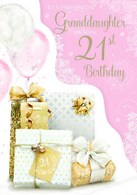 Stunning Large Top Range Glittered To A Special Granddaughter 21St Birthday Card