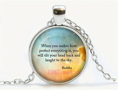 Vintage Cabochon Glass Necklace Silver Black bronze pendants(Buddha quotes