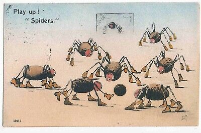 "FOOTBALL - QUEENS PARK FOOTBALL CLUB, GLASGOW - PLAY UP ! ""SPIDERS"" mailed 1909"