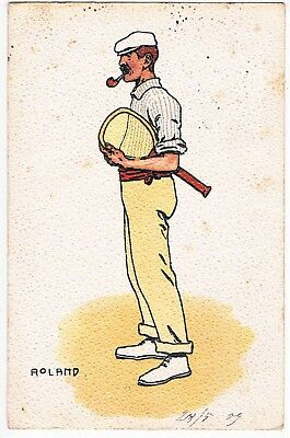 TENNIS - CHROMO LITHO - ILLUSTRATED BY ROLAND, c1905