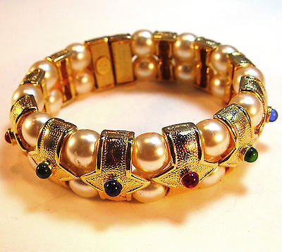 """elegant jeweled bracelet, 7 1/2"""" long, 7/8"""" wide, fit for a queen! pearl & gems"""