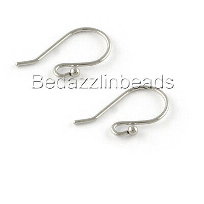 40 Small Surgical Stainless Steel Fancy Open Hook Earring Findings With Ball