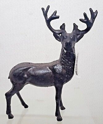 "Solid Metal Deer Buck Home Decor Figurine 9"" Tall Figure Cast Construction A115"