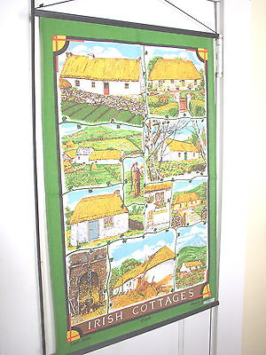 Irish Cottages Wall Tea Towel Banner, Fingal, Made in Ireland