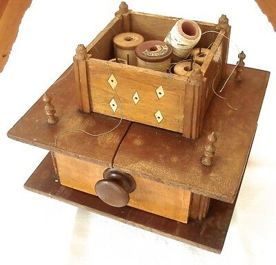 Vintage Wooden Footed Sewing Accessories Box Notions Drawer