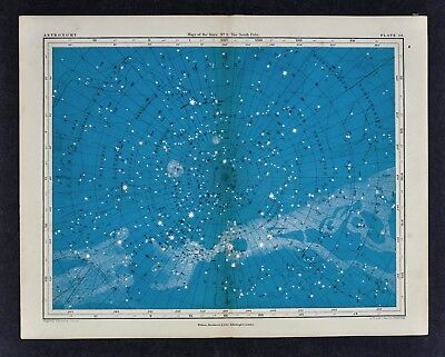 1855 Johnston Astronomy Star Map 5 South Pole Polaris Constellations Sky Charts