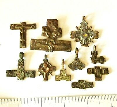 Lot Of Ancient Bronze Crosses Fragments (s103).