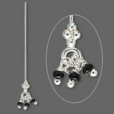 4 Sterling Silver 3 Black Bead Dangles Head Pins / 1.5 Inches Long / 24 Gauge *