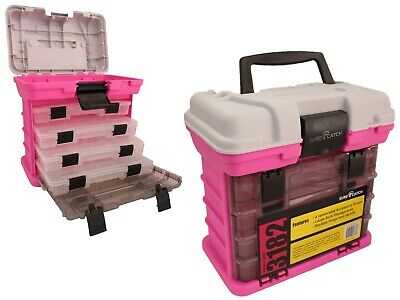 Limited Edition Pink Surecatch 4 Tray Heavy Duty Fishing Tackle Box PINK