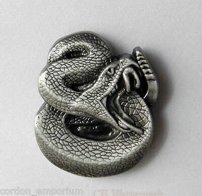 Rattle Snake 3-D Pewter Lapel Pin Badge 1 Inch