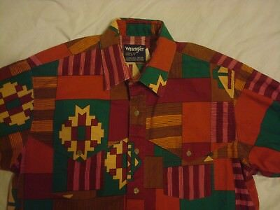 Vintage Wrangler Western Button Cotton Shirt Large 16 1/2 - 34 Made in USA