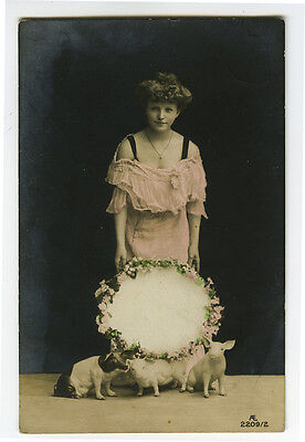 c 1908 Pretty Young Lady PIGS BEAUTY Glamour photo postcard
