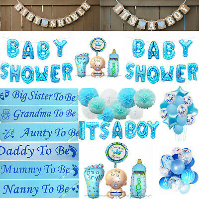 BOY BLUE Baby Shower  Bunting Banner Photo Booth Props Balloons Sashes Pompoms