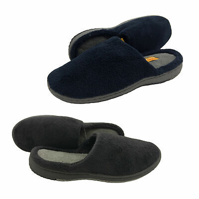 Mens Slippers Lorella Huggs Slipper Scuff Navy Solid Sole Sizes 7-12