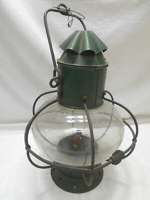 Vintage Tin and Glass Oil Ship's Light Kerosene Lamp Japanese   #50