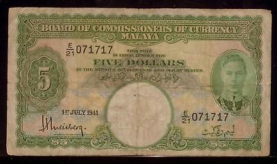 MALAYA 1941 5 Dollars   VG   Board of Commissioners   RC9259