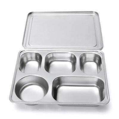 5 Divided Stainless Steel Kids Snack Tray Food Diet Portion Lunch Box Plate