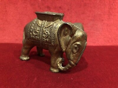 Antique Victorian Small Cast Iron Elephant Coin Bank