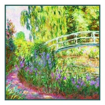 Impressionist Monet's Water lilies Japanese Bridge Counted Cross Stitch Chart