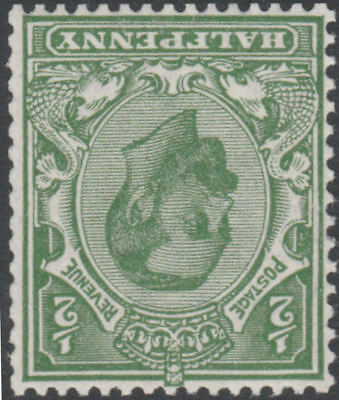 1912 DOWNEY HEAD SG334wi 1/2d PALE GREEN WMK ROYAL CYPHER INVERTED UNMOUNTED